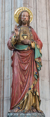 Mechelen - carved and polychrome statue of Heart of Jesus Christ
