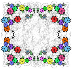 Abstract floral frame on grunge background