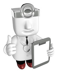 3d medical doctor man with his chart. 3D Square Man Series.