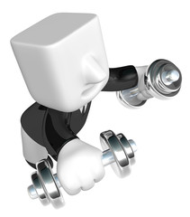 3d man holding his metal small dumbbell. 3D Square Man Series.
