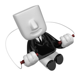 3d business man exercising with his skipping rope. 3D Square Man