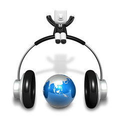 3d little artist man standing with big headphone and globe. 3D S