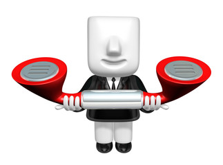 3d business man standing in a circle with their phone. 3D Square