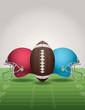 American Football Field, Ball, and Helmets