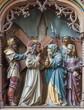 Mechelen - Carved statues of scene Jesus meet his mother