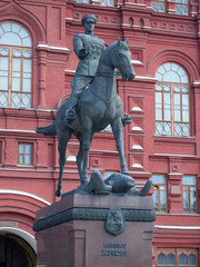 MOSCOW - July 07, 2014: Statue of marshal zhukov