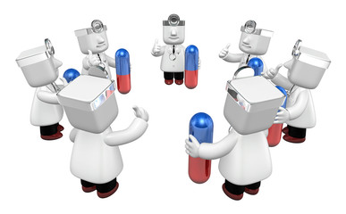 3d doctor men with medicine capsule. 3D Square Man Series.