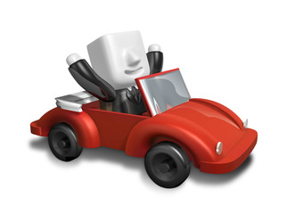 3d business man driving in the red convertible. 3D Square Man Se