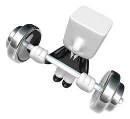 3d Businessman the lifting heavy weight. 3D Square Man Series.