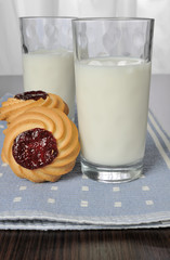 Glass of milk with shortbread