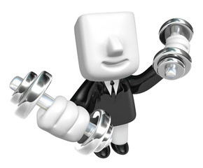 3d Businessman with dumbbells. 3D Square Man Series.