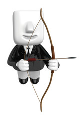 3d Businessman prepare for shooting an arrow. 3D Square Man Seri