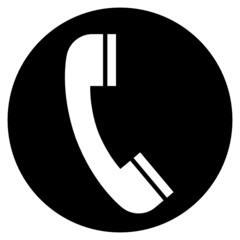 Telephone handset over black circle