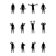 man lifts weights vector silhouette