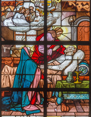 Mechelen - Death of st. Joseph on windowpane