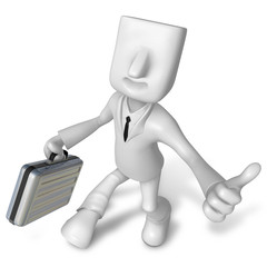 3d Businessman with briefcase up to a gesture. 3D Square Man Ser