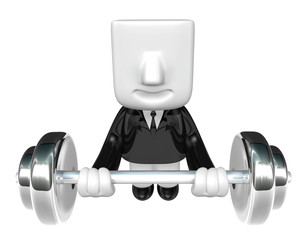 3d man holding his metal big barbell . 3D Square Man Series.