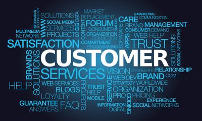 Customer service satisfaction guarantee words tag cloud