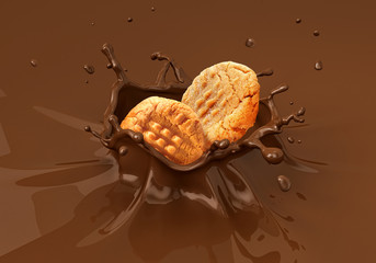 Two cookies biscuits falling into liquid chocolate splashing.