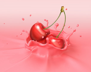 Two red cherries falling into milkshake splashing.