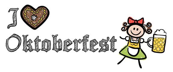 I LOVE OKTOBERFEST mit Wiesn-Kellnerin