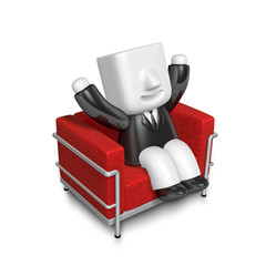 3D Businessman is sitting on an armchair. 3D Square Man Series.