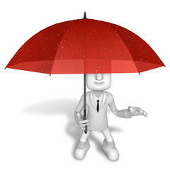 3D Men to avoid a red umbrella in rain. 3D Square Man Series.