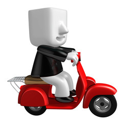 3d business man taking on his red bike. 3D Square Man Series.