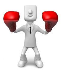 3D businessman with boxing gloves. 3D Square Man Series.