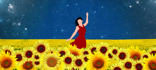 Dancer in a sunflowers field in red dress