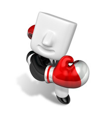 3d Businessman powerful punch. 3D Square Man Series.