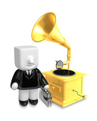 3D Business man Mascot and old record player. 3D Square Man Seri