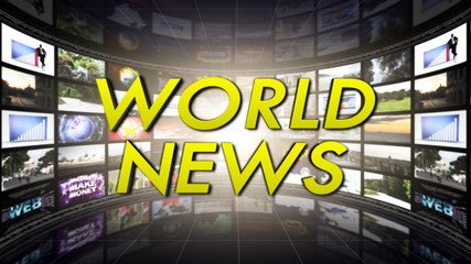 World News Text in Monitors Room