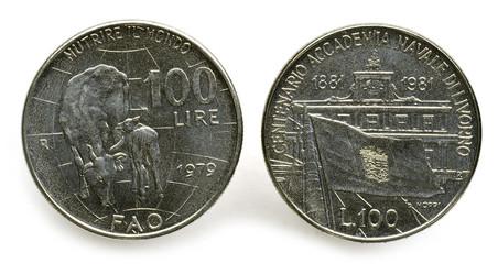Cento lire Lira Italia Italy إيطاليا