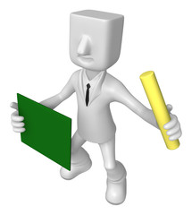 3D Business man mascot hand is holding a chalk and board. 3D Squ