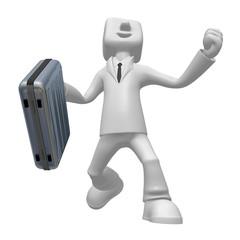 3d businessman team on white background. 3D Square Man Series.