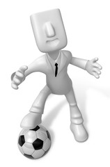 3D Businessman Soccer playing. 3D Square Man Series.