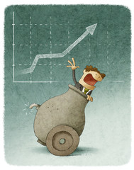 Businessman inside a cannon with a finance graph on background