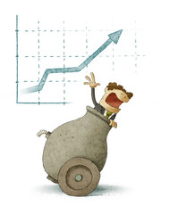 Businessman inside a cannon with a finance graph