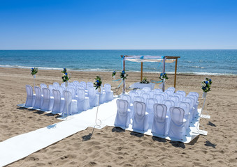 Wedding ceremony on beach Mojacar Almeria Andalusia Spain
