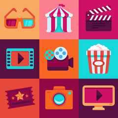 Vector flat cinema icons