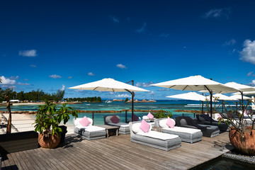 Luxury poolside jetty