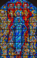Brussels - Virgin Mary and the Trinity from modern windowpane