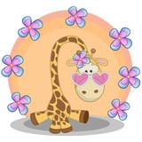 Fototapety Giraffe with flowers