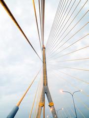 The Rama 8 Bridge at evening in Bangkok, Thailand