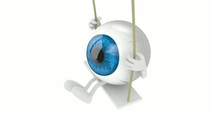 blue eyeball with arms and legs on a swing, 3d animation loop