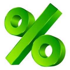 Green Percent Sign 3D Sale Angled