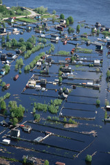 Aerial view of flooded village