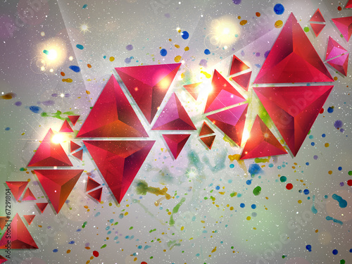 canvas print picture Background of 3d Triangles
