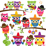 Cinco de Mayo Themed Collection of Owls and Branches